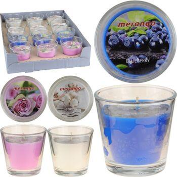 28-558620, Duftkerze Megango, mit Kerzenhalter aus Glas, Blaubeere, Rose, Cotton