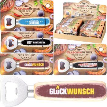 28-824424, Edelstahl Flaschenöffner mit Sprüchen, mit Holzgriff