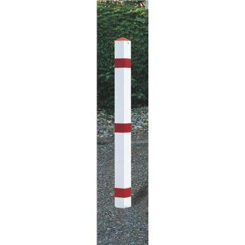 Sperrpfosten Stahl Bodenhülse u.Dreikantschloss B70xT70xH900mm rot/weiß mit Kappe