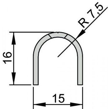 Bandseiten-Schutzprofil BU-16 L. 1355mm für Banddurchmesser 15mm Profil edlestahl