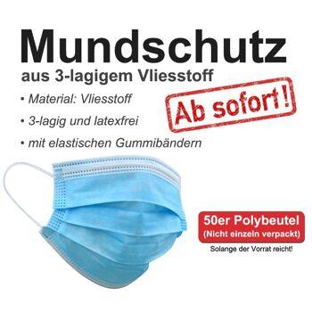 Mundschutz, Atemschutz, Schutzmaske, Gesichtsmaske, Einweg-Mund-Nasenschutz, MNS, 3 lagig SOFORT LIEFERBAR