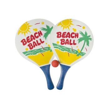 21-5135, großes Holz Beachballspiel Set 3-teilig, 2 Schlägern und 1 Ball