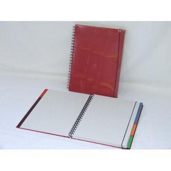Protokollbuch, Konferenzbuch A4 rot 4 Register mit 40 Blatt karo/blanko