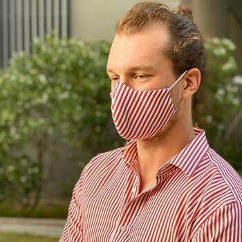 Waschbare Mundbedeckung aus 100% Baumwolle mit Filtertasche; Mund- und Nasen-Maske, bis zu 60° waschbar, wiederverwendbar, nachhaltig