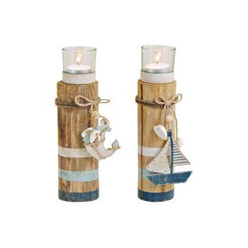 Teelichthalter Maritim weiß,blau aus Holz,Metall,Glas Braun 2-fach, (B/H/T) 6x20x6cm