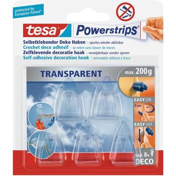 12-589000, Tesa Powerstrips Haken 5er Pack  Deko transparent  200g  Easy on Off