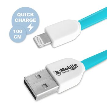 Highspeed USB Ladekabel ab iPhone 5 in Blau, 100 cm, BMobile Germany