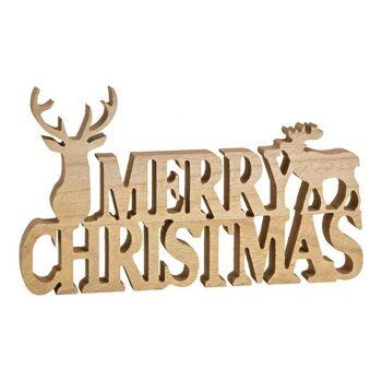 Aufsteller Schriftzug Merry Christmas aus Holz Natur (B/H/T) 34x20x3cm