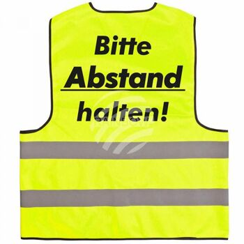 Warnweste mit Druck 'Bitte Abstand halten' gelb