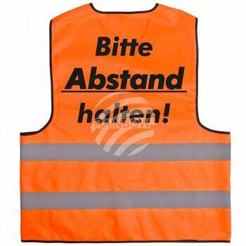 Warnweste mit Druck 'Bitte Abstand halten' orange