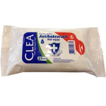CLEA 15 Feuchte Tücher, antibakteriell, zur Hand  - Desinfektion