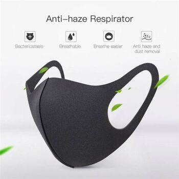 Nano Stoff Waschbare Maske Mundschutz Behelfsmaske Schwarz Unisex