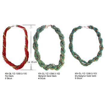 Halskette Kette Halsband Kollier viele unzählige Glas Kügelchen Metalllegierung Kunstglas Kristallglas