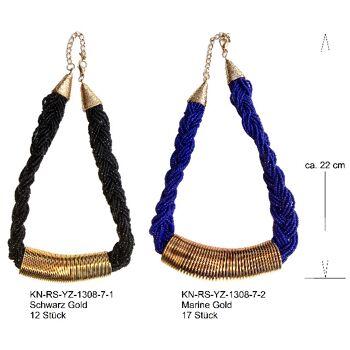 Halskette Kette Halsband Kollier viele unzählige Glas Kügelchen Spirale aus Federstahl