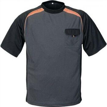 T-Shirt Gr.L dunkelgrau/schwarz/orange 50%PES/50%CoolDry mit Brusttasche