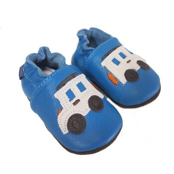 Babyschuhe - Blue D.D Step Leder Krabbelschuhe mit Auto drauf