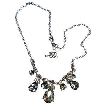 Halskette Kette Halsband Kollier Anhänger Tropfenform Kristall Schwarz Anthrazit glänzend Gold Gelb