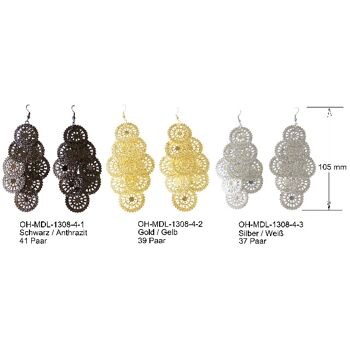 Ohrhänger Blatt Blätter Dünn Blatt Scheiben Groß 9-teilig Metalllegierung Glänzend Reflektierend Schwarz Anthrazit Gold Gelb Silber