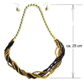 Halskette Kette Ohrhänger Ohrring viele unzählige Glas Kügelchen