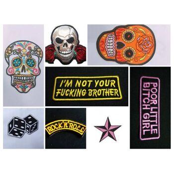 100 Stück Topseller gemischte verschiedene Patches Aufnäher Aufbügler gestickt Gothic Punk Rock Heavy Metal