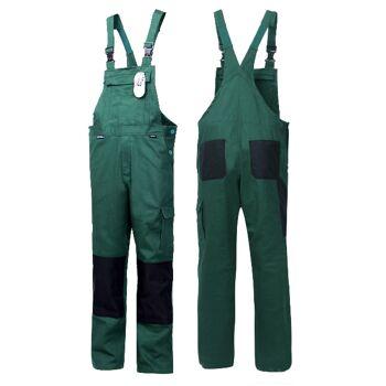 2 Stück Latzhose Arbeitshose 100% Baumwolle 290 G/qm CORDURA Grün Größe 50 Dunkelgrün Moorsgrün Schwarz