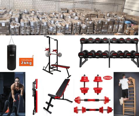 LKW-Ladungen voller Fitnessartikel, Hantelbänke, Gerätetürme, Boxsäcke etc.