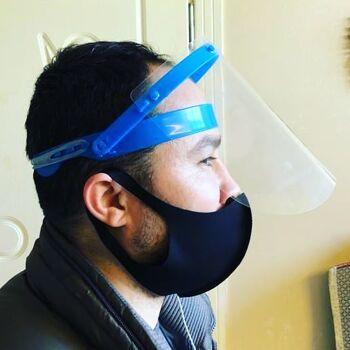 Gesichtsschutz Schutzmaske Face Shild Schutzvisier mit Schutzfolie Spuckschutz Aufklappbar
