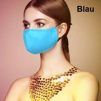 Stoffmasken aus 100% Baumwolle mit Einlegefach und verstellbaren Ohrschlaufen Blau