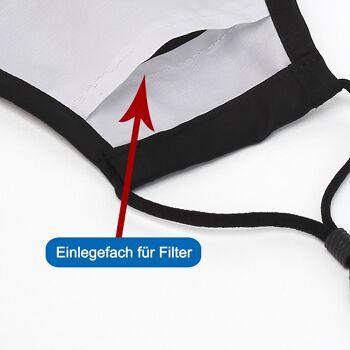 Stoffmasken aus 100% Baumwolle mit Einlegefach und verstellbaren Ohrschlaufen Schwarz