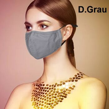 Stoffmasken aus 100% Baumwolle mit Einlegefach und verstellbaren Ohrschlaufen Dunkelgrau