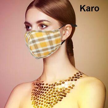 Stoffmasken aus Baumwolle und Viskose mit Einlegefach und verstellbaren Ohrschlaufen Karo