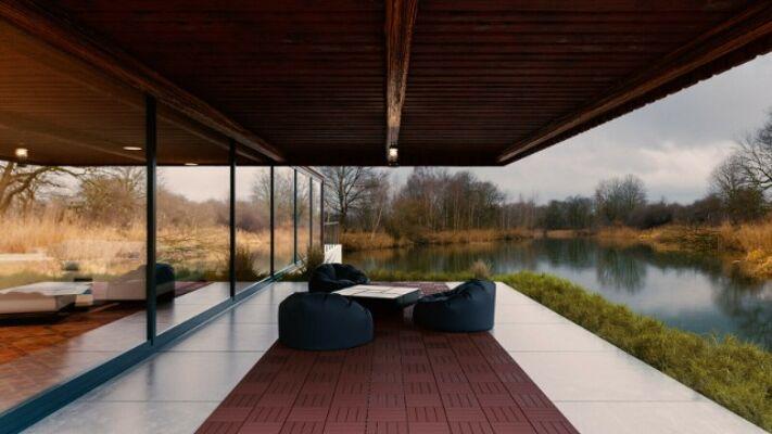 Terrassenbrett 30x30cm Balkonbrett, ziegelfarbe