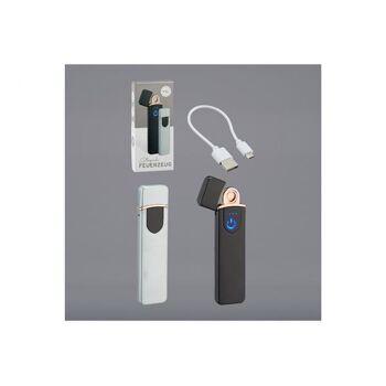Elektro Feuerzeug Glühspirale aus Metall Schwarz, Silber 2-fach, (B/H/T) 2x8x1cm