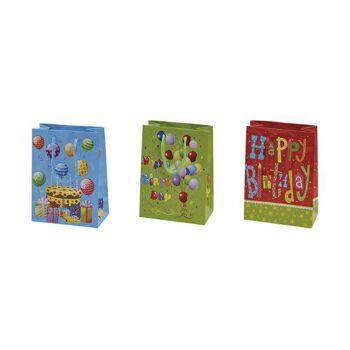 Geschenktüte Birthday aus Papier, 3-fach sortiert, B11 x T6 x H16 cm