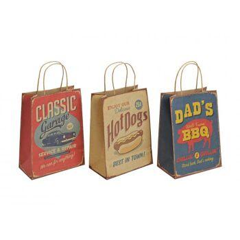 Geschenktüte vintage aus Papier, 3-fach sortiert, B21 x T11 x H27 cm