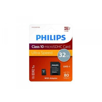 Philips MicroSDHC 32GB CL10 80mb/s UHS-I +Adapter Retail