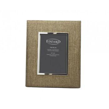 Versilberter Bilderrahmen, Fotorahmen Teramo, Fotogröße 13 x 18 cm, Textil beige, anlaufgeschützt