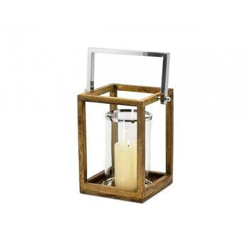 Laterne Windlicht Granby, klappbarer Griff, Holz, Edelstahl hochglanzpoliert, Glaseinsatz, H 28