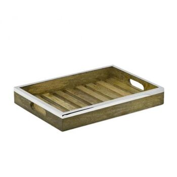 Tablett Serviertablett Mango, Holz mit Edelstahlrand, rechteckig, 39 x 28 cm