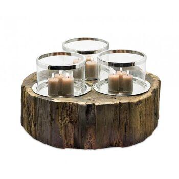 Windlicht Chattanooga, 3 Gläser, Holz, Edelstahl, ø 44 cm,H 25 cm,ø Gläser