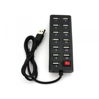 USB HUB 13-Port USB 2.0 mit Switch Schwarz