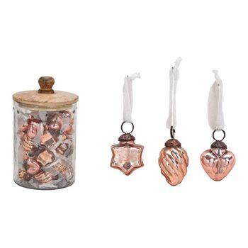 Hänger aus Glas Rosa 3-fach, (B/H) 3,5x3,5cm, 48 Stk in Glas mit Holz Deckel 12x20x12cm