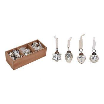 Hänger aus Glas Silber 4-fach, 3,5cm, 36 Stk. in Holz Fensterbox 25x5x9cm