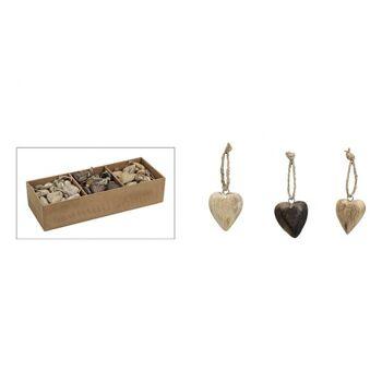 Hänger Herz in braun aus Holz, 3-fach sortiert, 5 cm