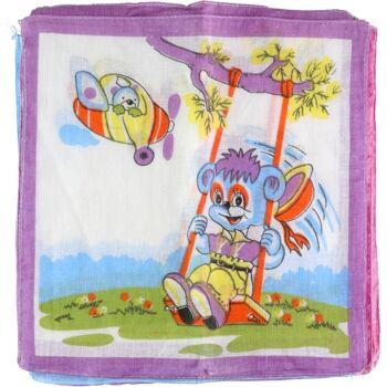 28-280420, Taschentuch für Kinder, 12er Pack, aus Baumwolle, Taschentücher, lustige Kindermotive