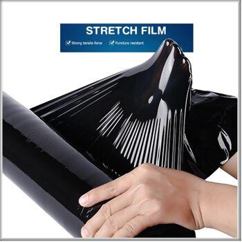 Stretchfolie Palettenfolie Verpackungsfolie Umzugsfolie 23µ 1Rolle=2,5 kg schwarz