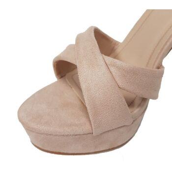 Beigefarbene Wildlederschuhe mit kleiner Schnalle - Sandalen mit hohen Absätzen