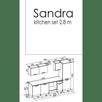 Standart Küchenblock 2,80 m Hochglanz Weiss Modell Sandra