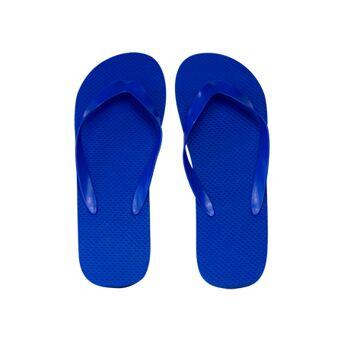klassischer Zehentrenner, blau, PE-Sohle, PVC-Riemen, Größe L (29 cm, 42-45)