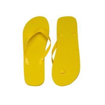 klassischer Zehentrenner, gelb, PE-Sohle, PVC-Riemen, Größe L (29 cm, 42-45)